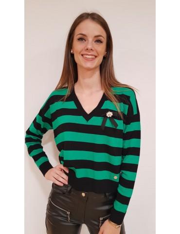 Gaudì maglia donna verde cropped rigata con spilla