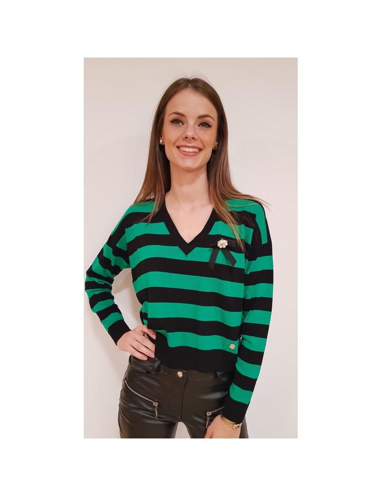 Gaudì maglia donna verde cropped rigata con spilla  821bd53007825042-02 GAUDI MAGLIE DONNA product_reduction_percent
