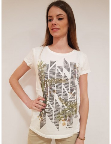 T shirt donna Blauer stampa fiori bianca