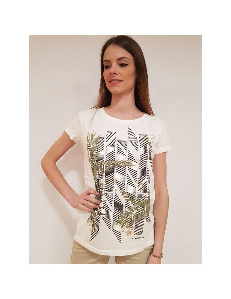 T shirt donna Blauer stampa fiori bianca 18sbldh02236004595118 BLAUER USA