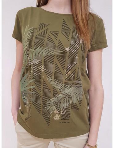 T shirt donna Blauer stampa fiori verde
