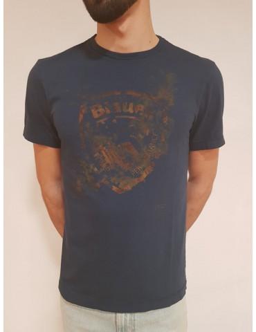 T shirt Blauer manica corta blu