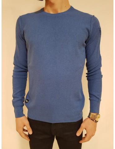 Maglia uomo girocollo Blauer con ricamo logo blu