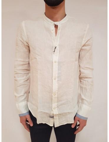 Blauer camicia bianca uomo collo coreana lino cotone