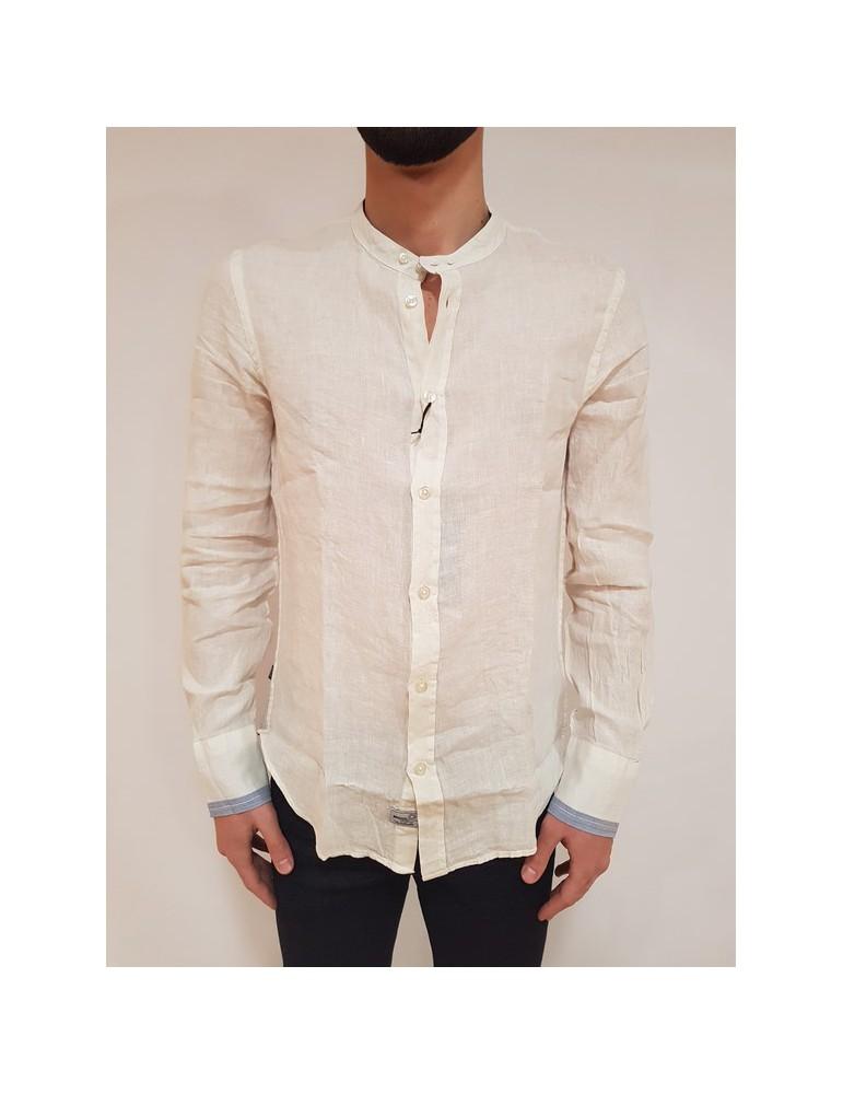 Blauer camicia bianca uomo collo coreana lino cotone 18sblus01200004993118 BLAUER USA