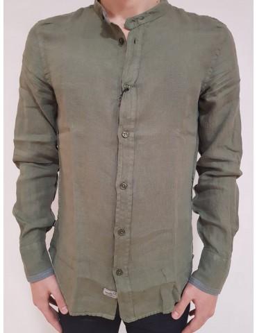 Blauer camicia verde uomo collo coreana lino cotone