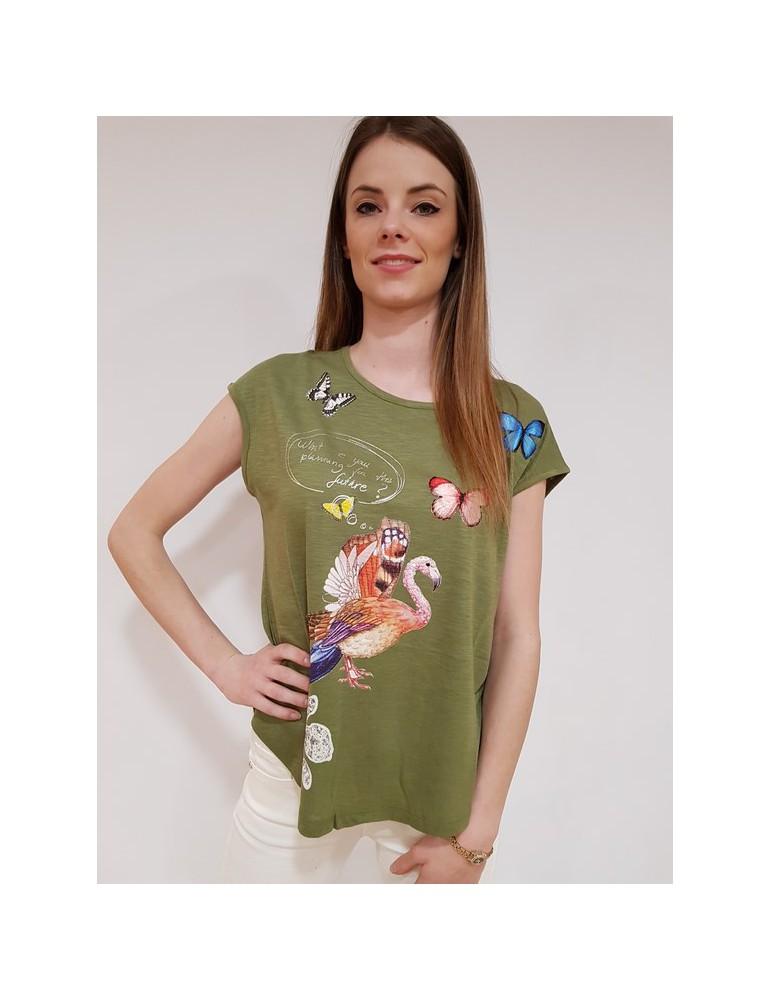 T shirt donna Desigual verde so what 18swtkho4124 DESIGUAL
