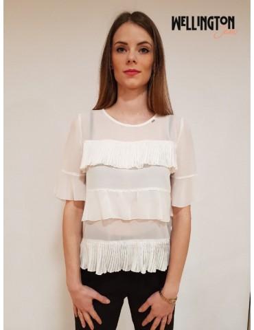 Gaudì blusa doppia balza bianca