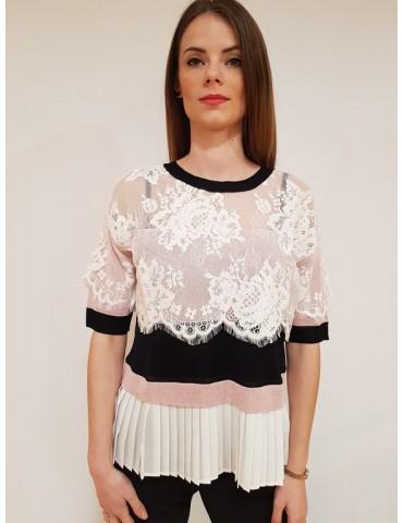 Gaudì knit short sleeve lace