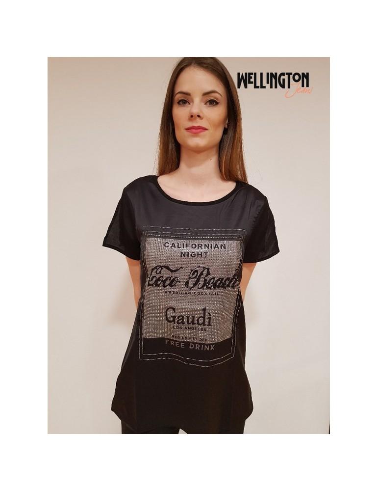 T shirt donna Gaudì manica corta strass oro 64014 nera 811fd640142001 GAUDI T SHIRT DONNA 50,82€
