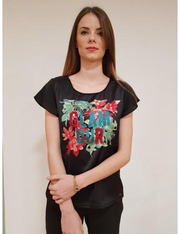 T shirt Gaudì mezza manica stampa e strass 64028 nera