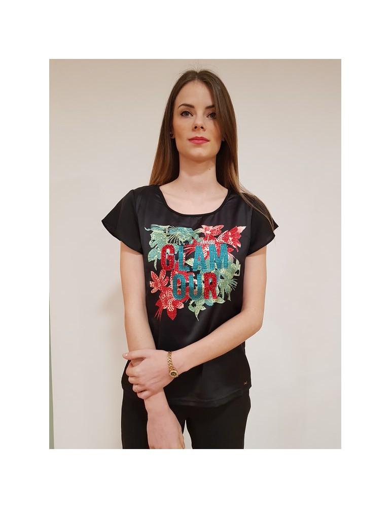 T shirt Gaudì mezza manica stampa e strass 64028 nera 811fd640282001 GAUDI