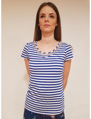 T shirt donna rigata Gaudì mezza manica bianca e blu