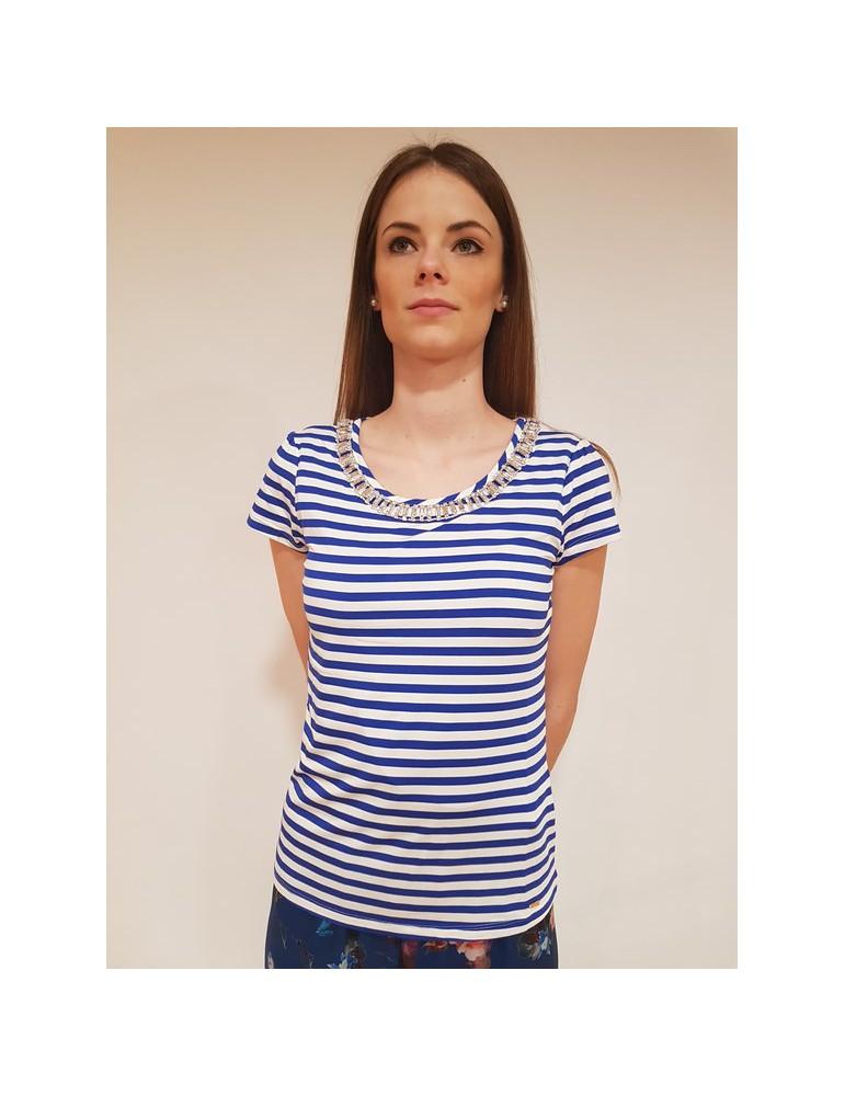 T shirt donna rigata Gaudì mezza manica 64036 bianca e blu 811fd64036811029-01 GAUDI