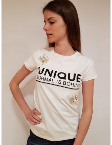 Gaudì t shirt con stampa e applicazioni bianca