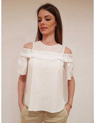 Fracomina blouse con ruches bianca