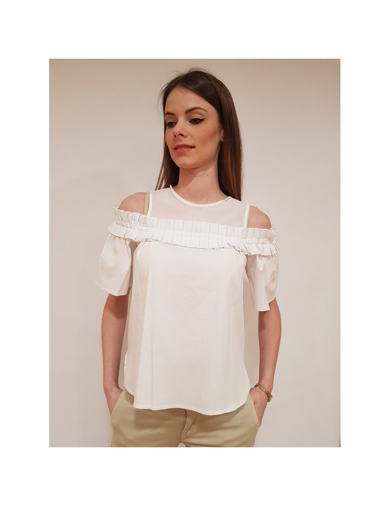 Fracomina blouse con ruches bianca fr18sm013278 FRACOMINA CAMICIE DONNA 57,38 €