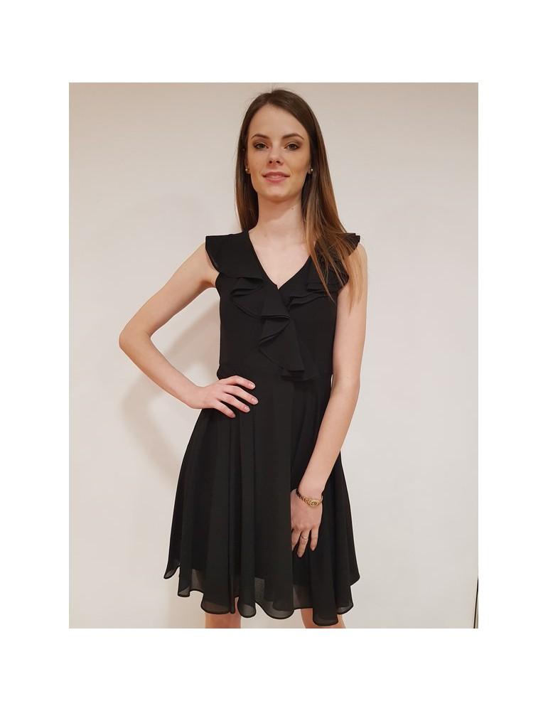Vestito Fracomina con voilant nero fr18sm094053 FRACOMINA ABITI DONNA 81,97€