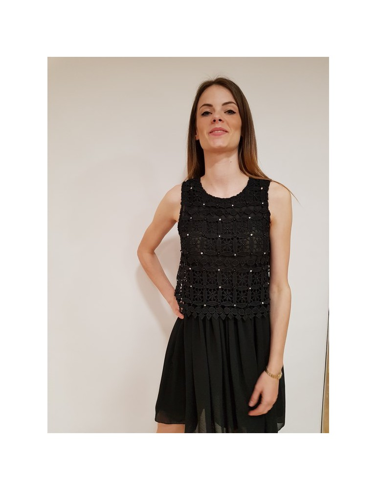 Fracomina vestito nero delicato e sofisticato fr18sm511053 FRACOMINA