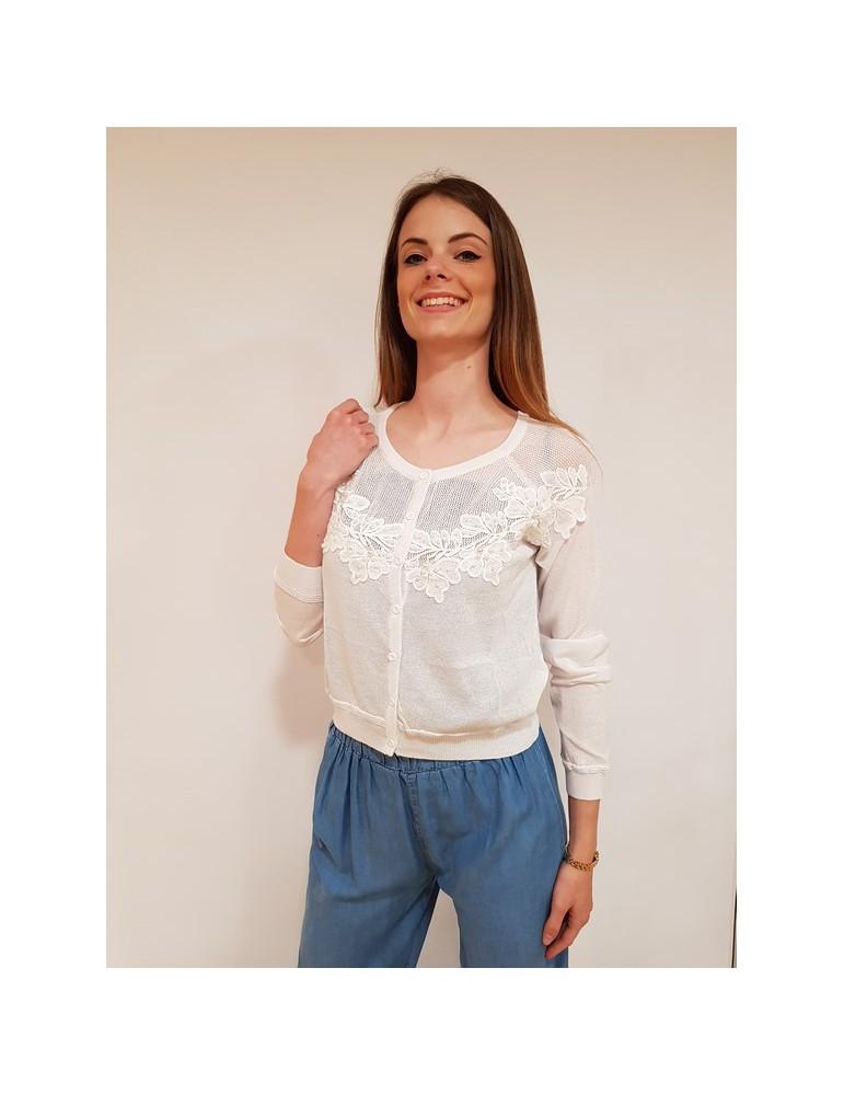 Fracomina cardigan corto bianco fr18sm800278 FRACOMINA MAGLIE DONNA 57,38€