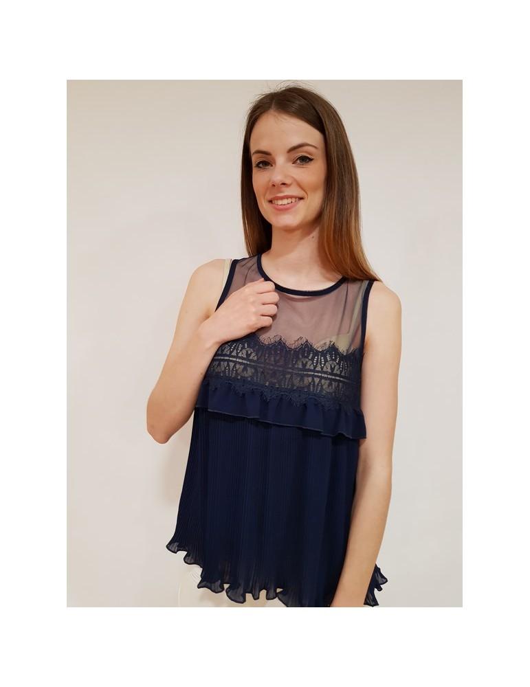 Fracomina blusa blu giromanica fr18sp085192 FRACOMINA