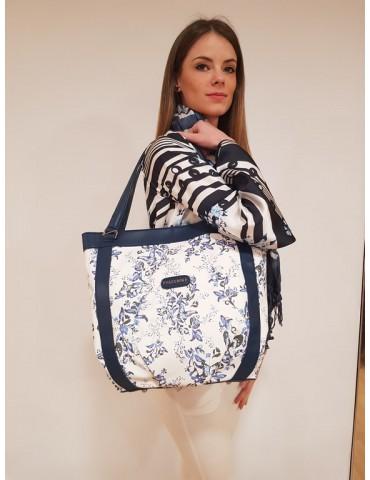 Fracomina shopping bag blu e bianca