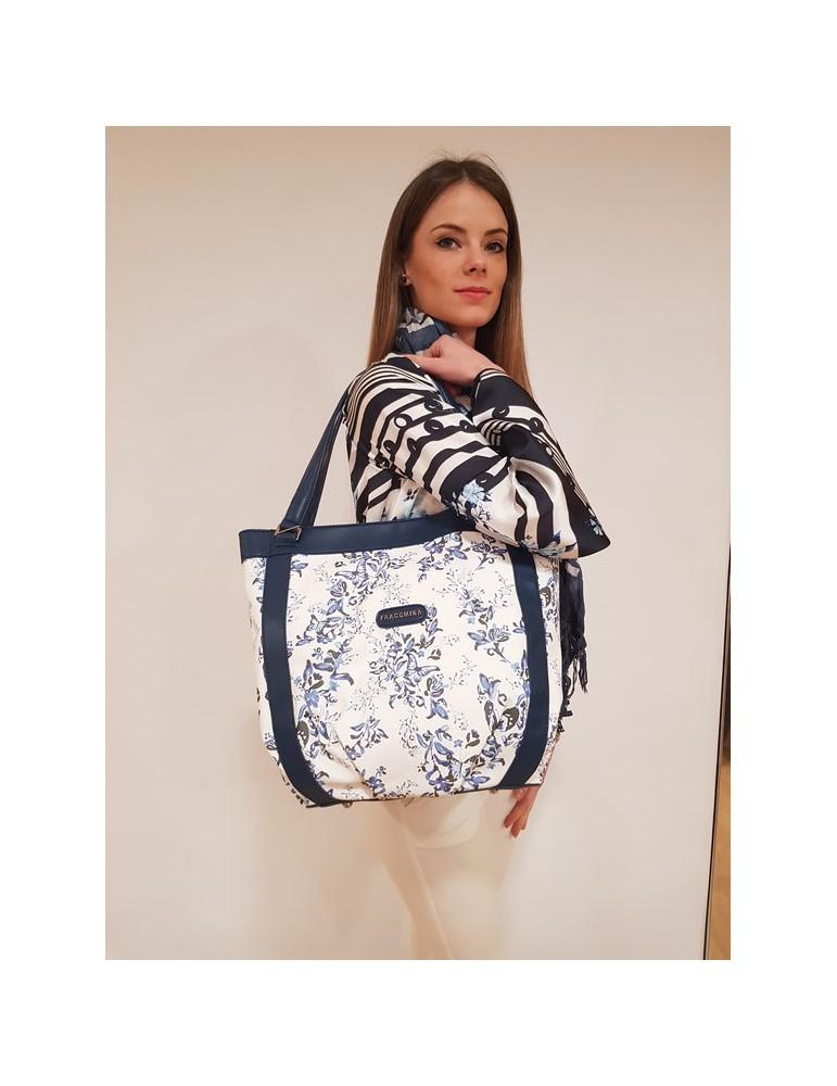 Fracomina shopping bag blu e bianca fr18sp210730 FRACOMINA