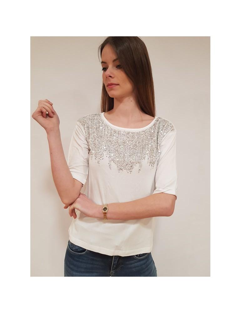 Fracomina t shirt con paillettes bianca fr18sp338278 FRACOMINA T SHIRT DONNA 42,62€
