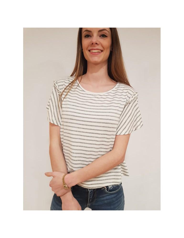 Fracomina t shirt rigata crema e grigio fr18sp366509 FRACOMINA