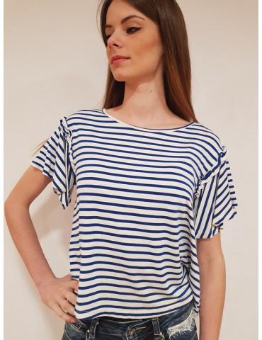 Fracomina t shirt rigata blu e crema