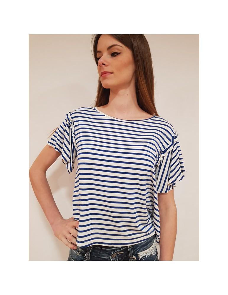 Fracomina t shirt rigata blu e crema fr18sp366d29 FRACOMINA