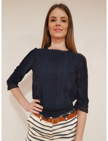 Fracomina blouse blu manica tre quarti