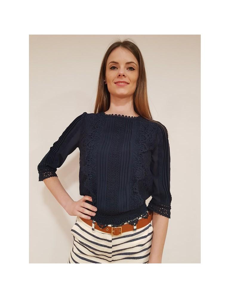 Fracomina blouse blu manica tre quarti fr18sp443192 FRACOMINA