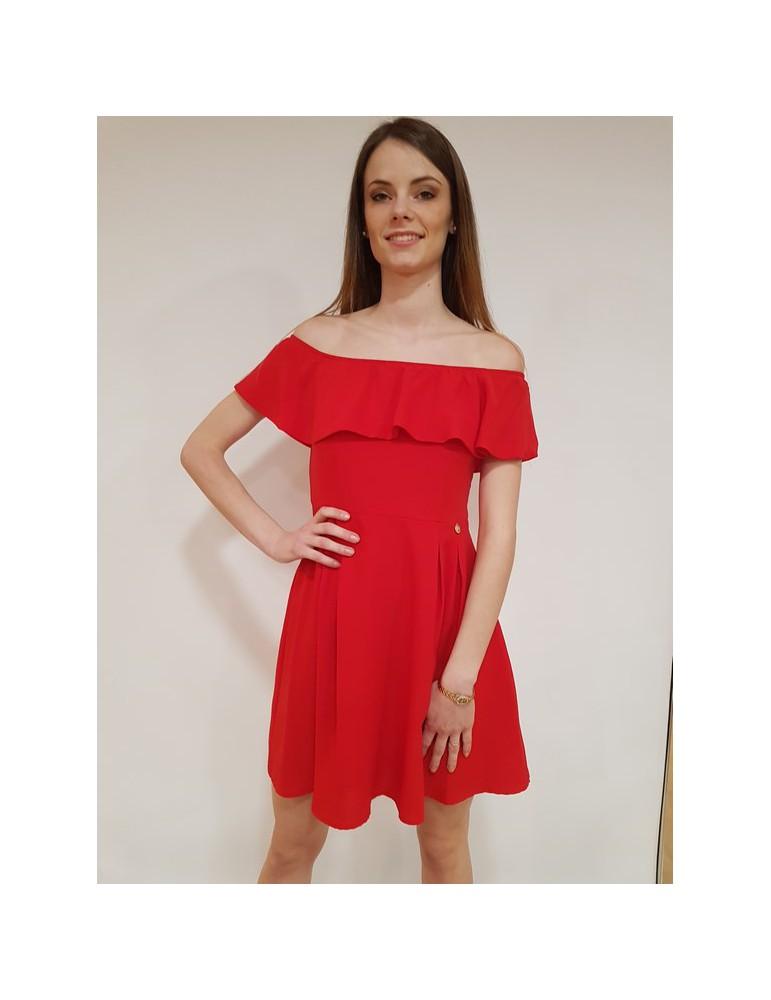 Fracomina mini dress con voilant rosso fr18sp521234 FRACOMINA