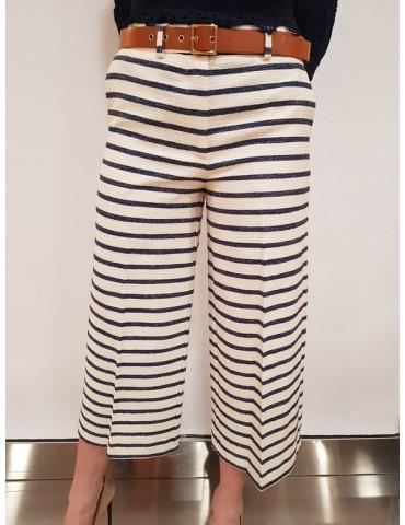 Fracomina pantalone capri a righe cream marine
