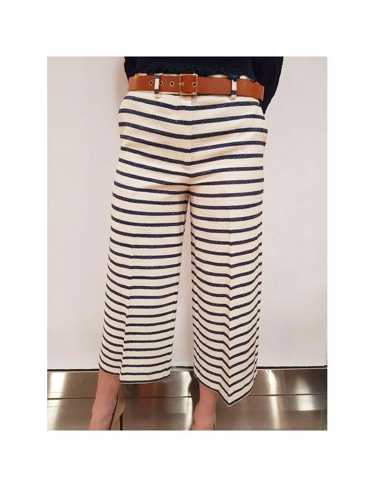 Fracomina pantalone capri a righe cream marine fr18sp676730 FRACOMINA