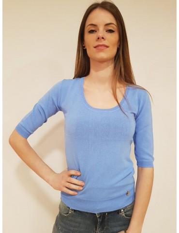 Fracomina maglia scollo madonna light blu