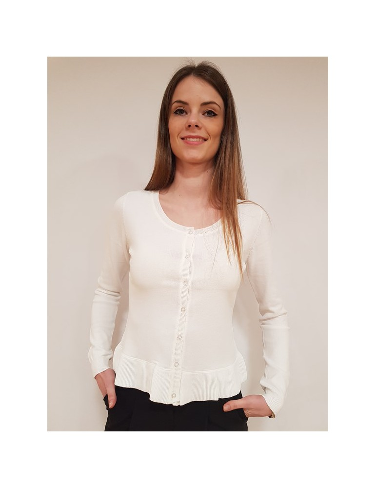 Fracomina cardigan rouche bianco fr18sp877108 FRACOMINA MAGLIE DONNA 57,38€