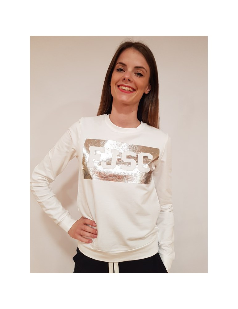 Fracomina felpa bianca logo fr18sp917108 FRACOMINA