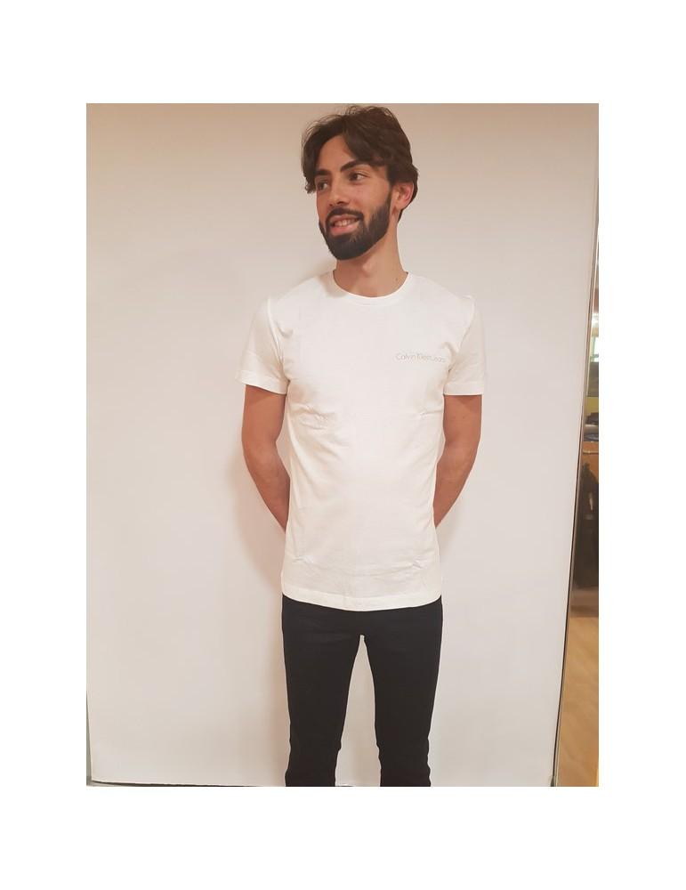 Calvin Klein t shirt slim bianca Typoko j30j306441112 CALVIN KLEIN JEANS