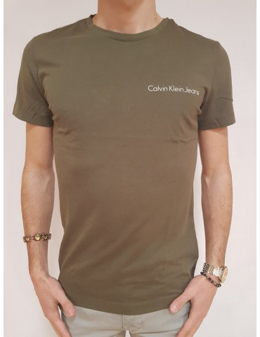 Calvin Klein t shirt slim verde Typoko