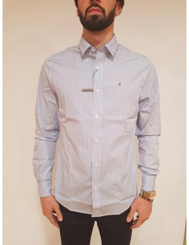 Camicia rigata slim fit Calvin Klein bianca e blu Wilbert