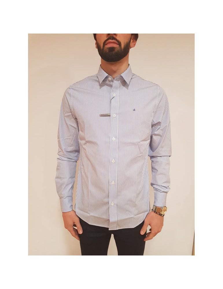 Camicia rigata slim fit Calvin Klein bianca e blu Wilbert j30j307025901 CALVIN KLEIN JEANS
