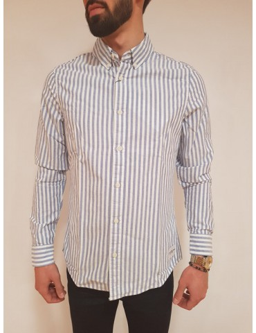 Calvin Klein camicia rigata bianca e blu Wilbens
