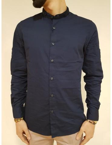 Antony Morato camicia coreana blu regular fit