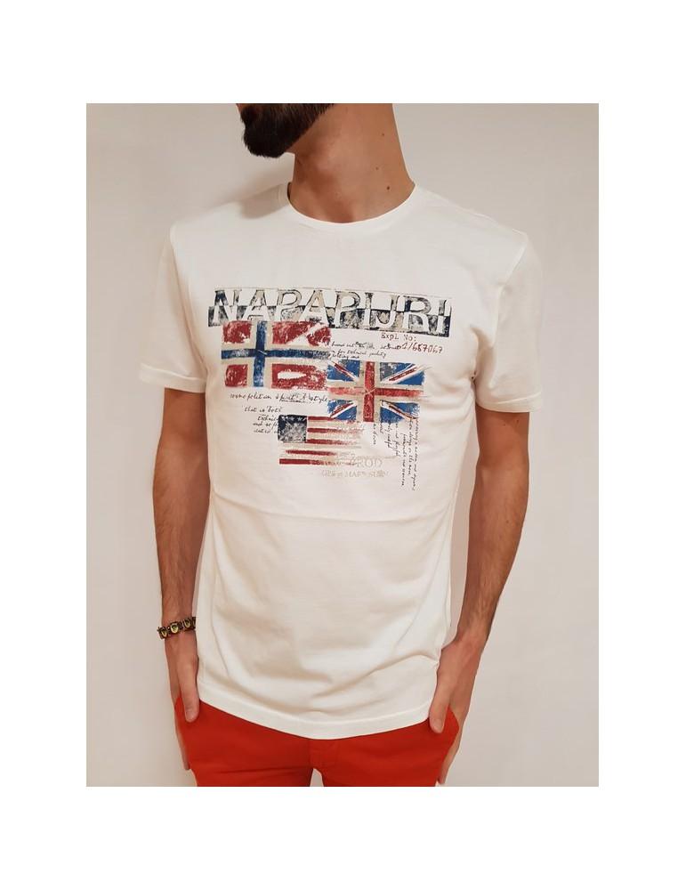 Napapijri t shirt bianca Syros n0yhcw002 NAPAPIJRI