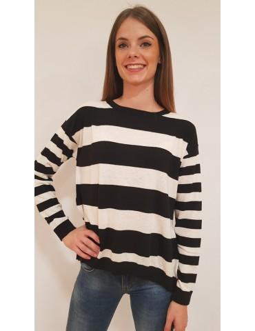 Gaudi maglia donna a righe bianca e nera
