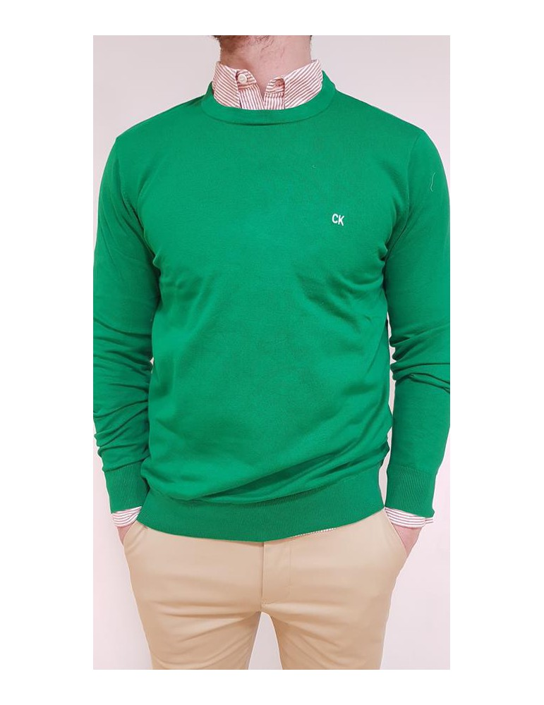 Maglia uomo Calvin Klein tinta unita verde j30j310390377 CALVIN KLEIN JEANS MAGLIE UOMO product_reduction_percent