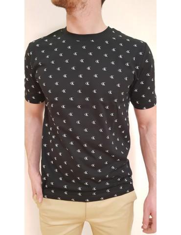 Calvin Klein t shirt nera girocollo stampa logo monogram all over