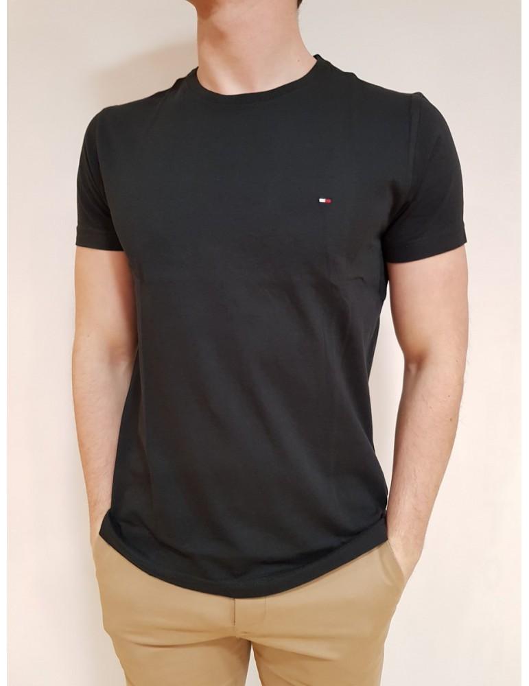 T shirt Tommy Hilfiger nera Essential mezza manica con logo mw0mw09812083 TOMMY HILFIGER T SHIRT UOMO product_reduction_percent